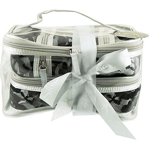 Gloss! Trousse de Toilette/Maquillage Premium Noir/Argent/Violet 4 Pièces