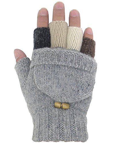 Zaywind Winter Warme Handschuhe Fingerlose Fäustlinge Strickwolle Fingerhandschuhe Halb Handschuhe Gestrickte Flip-Handschuhe