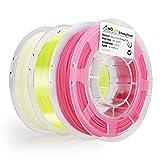 AMOLEN 3D Drucker Filament Set, Glow in the Dark Blau, Temperatur Farbwechsel Rosa bis Weiß, Seide Gelb, PLA Filament 1.75mm, 3x200g,+/- 0.03 mm 3D Drucker Materialien, enthält Proben Temperatur Farbwechsel Blau bis Weiß, Fluo Orange und Seide Orange Filament.