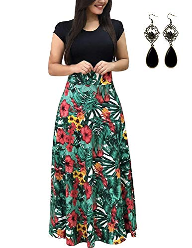 PIPIHU Sommerkleid Damen Lang mit Blüte Drucken Lang High Waist Elastische Strandkleider Maxikleider (5XL, Grünes Blatt) - A-linie Frühling
