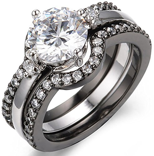 SaySure 10KT Black / White Gold Filled Wedding & Engagement Ring Set 3 pcs