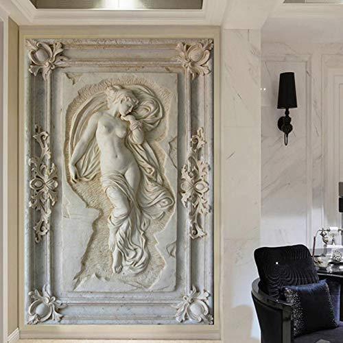Fototapete 3d effekt Benutzerdefinierte Wandbild Tapete Europäischen Stil 3D Stereoscopic Art Relief Engel Nackte Statue Eingang Korridor Glitter Tapete-200X140CM -