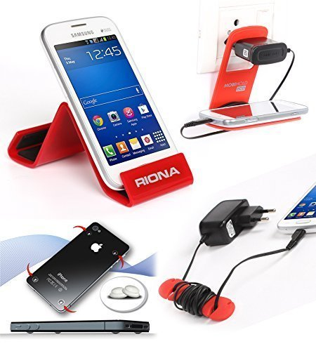 Riona Mobile holder A5S Red + Hanger Stand + Cable Organizer + Scratch Guard Pads