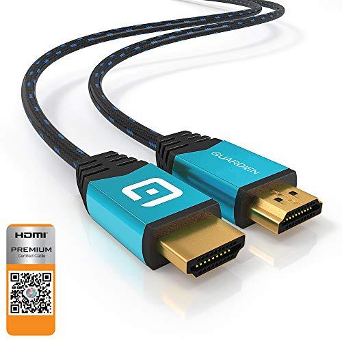 GUARDIEN Câble HDMI 4K 1,8m - Certifié Premium - Ultra HD 2160p, Full HD 1080p, 3D, Arc, Ethernet - HDMI 2.0a/b, 2.0, 1.4a - Compatible PS4, PS3, Xbox One, Xbox 360, Apple TV - Triple Blindage