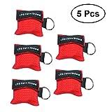 UKCOCO 5Pcs CPR Maske mit Schlüsselanhänger Beatmungsmaske Maske für Erste Hilfe Notfall oder AED Training (rot)