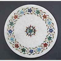 10cm de diámetro color blanco mármol indio Chakla eléctrica Indian Tema Multi Color piedra incrustaciones
