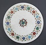 25,4cm Durchmesser Weiß Marmor chakla Chapati-Maker indischen Artikel Multi Farbe Stein Inlay