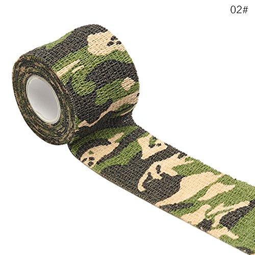 WANGLAI 2,5cm x 4,5m Camouflage Vlies selbstklebend Bandage-Erste Hilfe Medical Wrap Elastic Wasserdicht Bandagen, 2, 2.5CM X 4.5M (Stoff Bandagen 1 X 3)