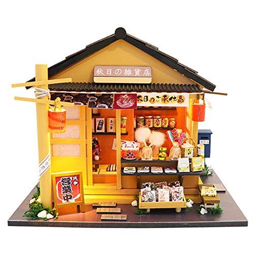 Rain City 2019 Rêve Chalet Série Puzzle 3D, Automne Réminiscence Magasin d'épicerie Japonaise avec des lumières LED et Mouvement Musical Difficulté 3 étoiles Convient aux Enfants de Plus de 6 Ans