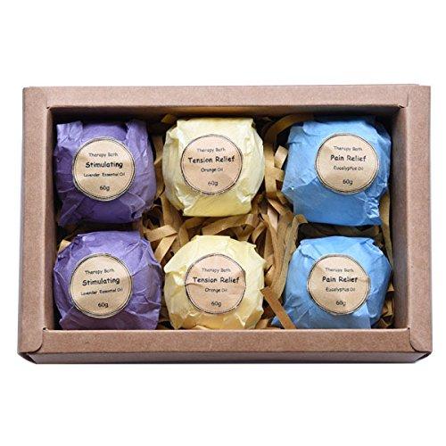 Sungpunet Bath Bomb Set - 6 Vegetarisch Natürliche Aromatherapie Badesalz Ball Set