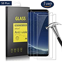 3-Unidades Protector de Pantalla para Samsung Galaxy S8 Plus, 6.2 pulgadas, Alfort Cristal Templado Premium Grosor 0,33mm Alta Resistencia a Golpes 9H Tono Transparente Alta Definicion Compatibles con 3D Touch No Generan Burbujas