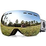 Snowledge Skibrille Snowboard Brille Rahmenlos OTG UV400 Schutz mit Anti-Beschlag
