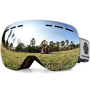 Snowledge Skibrille – Frameless, Austauschbare Double Sphärische Linse mit Anti-Kratzer und Anti-Nebel, Ski/Snowboard-Goggles für Männer Frauen-100% UV-Schutz