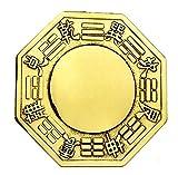 Dmtse chinois Feng Shui Wudang Montagne BAGUA Miroir convexe Laiton 11,9cm pour protection de la famille sans fil Rouge pour suspendre BAGUA Miroir