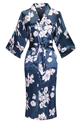 DandyChic Damen kimono roben kimono imitation silk nachtwäsche lange leichte nightgown Lily Large (Damen Silk Robe)