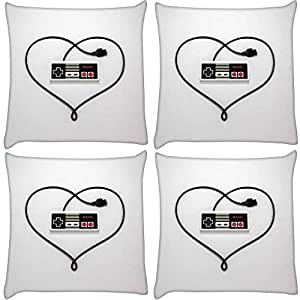 Snoogg Pack of 4 Entertainment System Controller Love Digitally Printed Cushion Cover Pillow 14 x 14 Inch