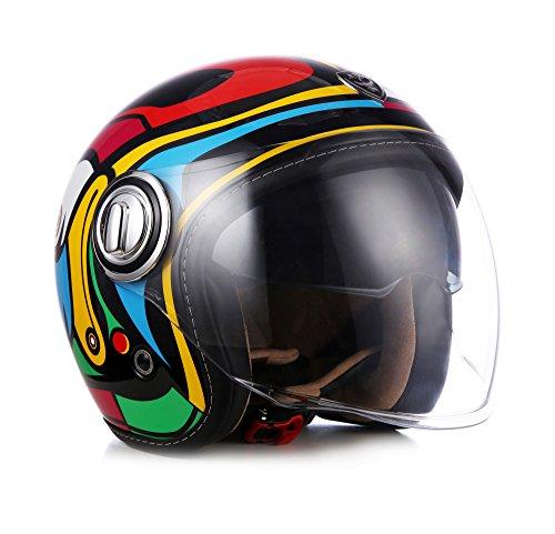 "Soxon · SP-888 ""Art"" · Jet-Helm · Chopper Retro Scooter-Helm Mofa Roller Motorrad-Helm · ECE certified · Separate Visors · Multi-Visor™ Ready · Extra small Shell · Click-n-Secure™ Clip · M (57-58cm)"