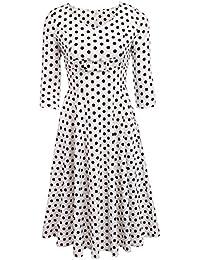 Zeela Damen Petticoat Kleid 50er Jahre Rockabilly Vintage Swing  Cocktailkleid mit Punkten 3 4 Ärmel 0bed07db40