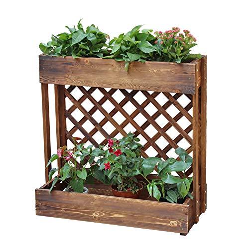 Bastidores planta, 2-Tier Cama levantada del Jardín, carbonizado Caja de Flores de Madera anticorrosivo, caja Plantaciones al aire Libre jardín balcón decorativa