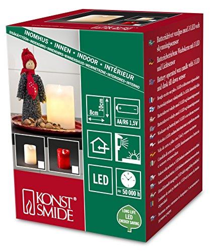 Konst Smide 1967-550 - Vela LED de cera (altura de 10cm, 2 bombillas, luz blanca cálida, con interruptor y sensor de luz, funciona con 2 pilas AA, 1,5V), color rojo
