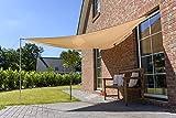 Outent® Sonnensegel 3,6 x 3,6 x 3,6m wasserabweisend Sonnenschutz UV-Schutz beige
