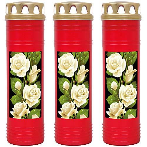 HScandle Grabkerze - 3er Pack - (Rot) ca. 7 Tage Brenndauer je Kerze - Motiv: Rose