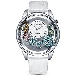 TIME100 Ladies' Diamonds Shell Dial White Leather Strap Watch #W50080L.01A