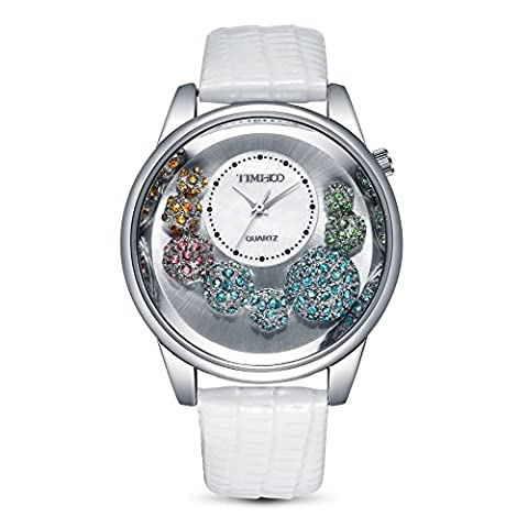 TIME100 Ladies' Luxury Diamonds Shell Dial Flowing Crystal Roman Numeral