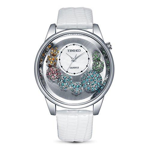 Time100 W50080L.01A W500 - Orologio da polso da donna, cinturino in pelle colore bianco