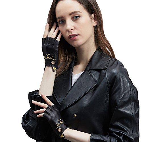 GSG Fahrhandschuhe, fingerlos, Leder, süße Kitty-Handschuhe, Halbfinger, Cosplay-Kostüm, echtes Nappa, Damen, schwarz, ()