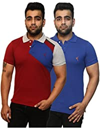 Yross Maroon & Royal Blue Slim Fit Polo T-Shirt Combo Pack Of 2