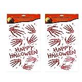 STOBOK Blutige Handabdruck Sticker für Halloween Party Fenster Wanddekoration 2 Stücke