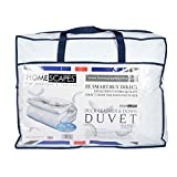 Single (135 x 200 cm) : Homescapes Single 13.5 Tog New White Duck Feather & Down Duvet - 100% Cotton Anti Dust Mite & Down Proof Cover - Anti allergen - Washable at Home Luxury Winter Quilt