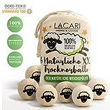 Lacari  [6x] XXL Trocknerbälle für Wäschetrockner - Der natürliche Weichspüler aus 100% Schafwolle - In Handarbeit gefertigt - Pflegt die Wäsche besser