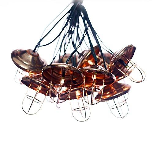 Solarbuy24 Fila di lanterne da giardino a energia solare, in bronzo, luce bianca calda, ideali per esterni, impermeabili, 12 lanterne