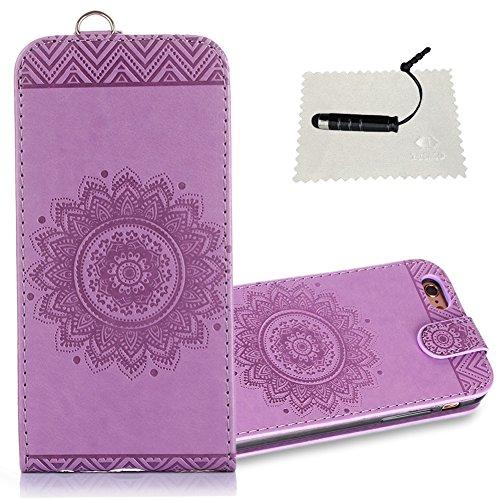 iphone 6 Hülle,TOCASO Wallet Case Embossed Mandala Ultra Slim Weich iphone 6 / iphone 6SHandyhülle iphone 6 / iphone 6S Klapphülle Stand Karte Halter -Mandala Hellviolett