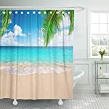 Presock Cortinas De Ducha, Shower Curtain 60 x 72 Inches Coconut Palm Trees Against Blue Sky and Beautiful Beach in Punta Cana Dominican Set with Hooks Polyester Fabric Bathroom Shower Curtains