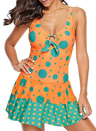 3348374a1d801 Asvivid Womens Summer Costume Swimsuit One Piece Wave Point Swimwear  Swimming Dress