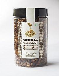 Granola Breakfast Cereal Mocha Hazelnut by Addicted, Healthy Granola Snack with Fresh Brewed Coffee, Hazelnuts, Honey and Dark Chocolate Chips – 400gm