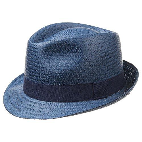Malaga Strohtrilby für Damen, Herren und Kinder blau |Frühjahr/Sommer | Strohhut in der Größe 61 cm | Sommerhut aus 100% Papierstroh | In Italien gefertigter Sonnenhut