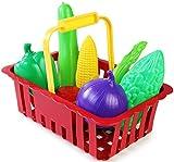 Kinder Kaufladen Obst und Gemüse Set 7 teilig im Körbchen KInder Einkaufsladen Laden Lebensmittel Spielzeug Konserven Einkaufsladen Kinderkaufladen Zubehör Kaufmannladen Laden