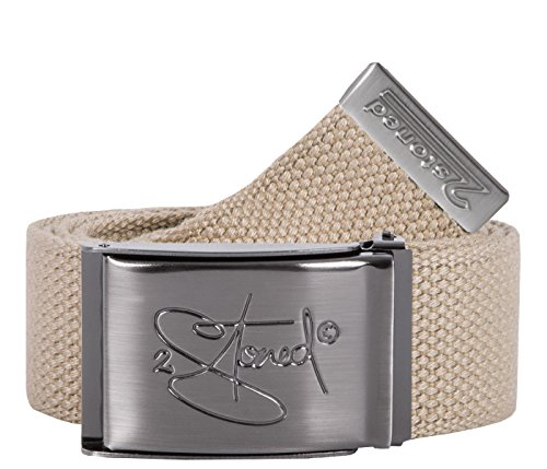 2Stoned Tresor-Gürtel Geldgürtel Beige 4 cm breit Matte Schnalle Classic, Safe Belt für Damen und Herren
