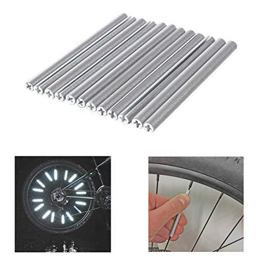 SATISFIED 72 Stück Reflektor Clips, Fahrrad Felgen Speichen Tube mit Reflexmaterial Silber