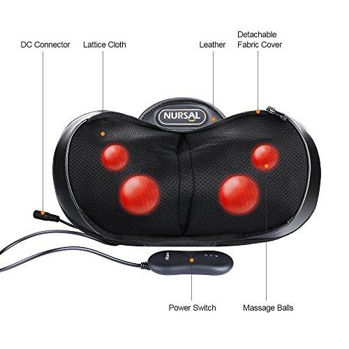 NURSAL 4 Modos 3D Shiatsu Masajeador Amasado profundo Almohada de masaje con calor para el cuello hombro y espalda Combate la fatiga rigidez y alivia el dolor en la oficina casa y coche con bolsa de mano cálida