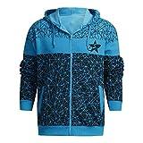 Yvelands Herren Sweatshirt Hoodie Herbst Winter gedruckt Schulter Freizeit Jacke Kragen Mantel lässig(EU-56/L4,Blau2)