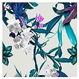 murando - Vlies Tapete - Deko Panel Fototapete - Wandtapete - Wand Deko - 10 m Tapetenrolle - Mustertapete - Wandtapete - modern design - Dekoration - Blumen Natur grün weiß blau weib rot b-A-0028-j-c