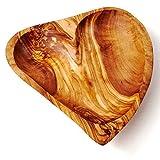 Das Olivenholzbrett Schale in Herzform, längliche Herzform 15cm