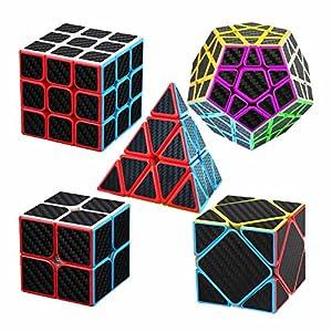 Axcone Cubo Puzzle Magico Cubo Carbon Fiber Sticker Giocattolo,per Maggiore Rapidità e Precisione Puzzle Game e Regalo di Festa (all)