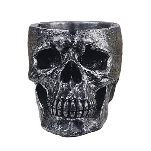 menschlicher Schädel-Aschenbecher mit Deckel für gruselige Halloween-Dekorationen Raucherzimmer-Dekor-Geschenke für Raucher ()
