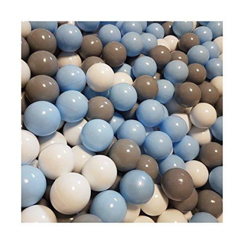 100 Bälle Ø 7cm Bälle für Bällebad viele bunte Farben Baby Kind Spielbälle Kugelbad Plastikbälle Blau Türkis Grau Pink Rosa Schwarz Weiss (Hellblau, Grau und Weiss)